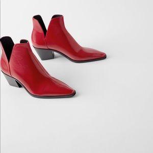 Zara western red ankle boots bow boy low heel